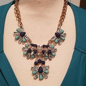 Loft shades of blue statement necklace